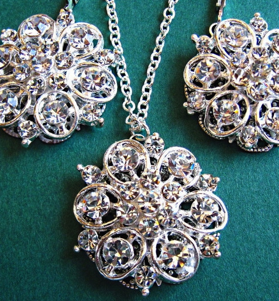 Weddings, Necklace and Earring Set, Vintage Style, Bridal Jewelry